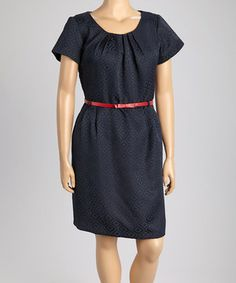 Look at this Shelby & Palmer Navy & Red Belted Short Sleeve Dress - Plus on #zulily today!