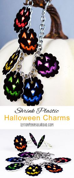 Halloween shrink plastic charms for jewelry crafts. Free printable included.