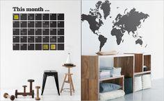 een maandkalender óp de muur ipv aan de muur