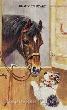Horse & Pup Ready To Start Crazy Quilt Fabric Block