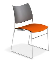 Casala Curvy Chair - plastic backrest, upholstered seat