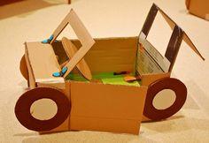 9 cardboard car for kids http://hative.com/creative-diy-cardboard-playhouse-ideas/