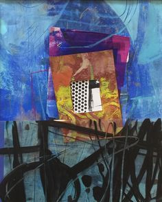 'Childhood Home' Abstract collage with gestural black lines by Dorothy Ganek