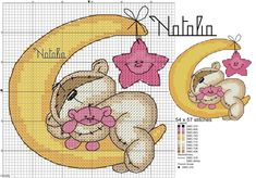 My Cross Stitch Gallery: :: Fizzy Moon - Sleeping in the Moon (Blue/ Pink) Cross Stitch For Kids, Cross Stitch Baby, Cross Stitch Animals, Cross Stitch Charts, Cross Stitch Patterns, Cross Stitch Gallery, Cross Stitch Designs, Cross Stitching, Cross Stitch Embroidery