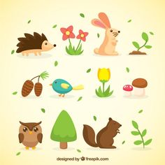 Colección de animales y naturaleza de primavera Vector Gratis