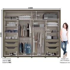 Guarda-roupa Casal 100% MDF com Espelho 2 Portas de Correr Henn Cavic - Duna/Off White - Loja Veneza