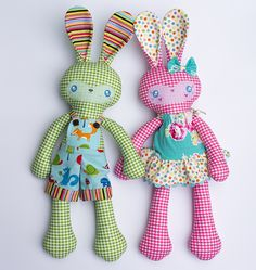 """Everybody loves a bunny, and with this cute girl and boy pair you would delight anyone with your creations! Originally part of my fabric collection, """"My Sweet Home"""" These bunnies are now available as a pattern to create toys with your own personal style. 2 boy (green and blue) and 2 girl (pink and yellow)..."""