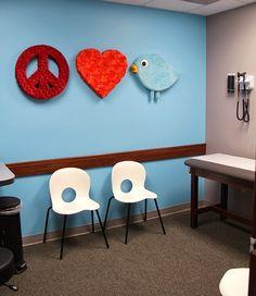 Teen room in Redbud Pediatric's office - fabric covered PEACE, LOVE & Redbud Bird