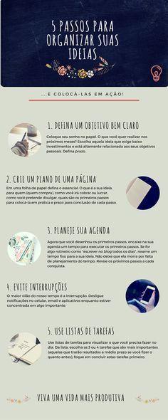 5 Passos para organizar ideias… e colocá-las em prática! (via Negócio de Mulher)