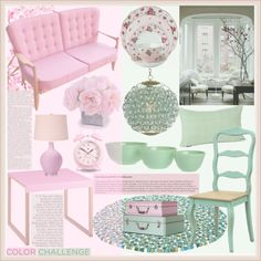 """Color challenge/Pink and green"" by helenevlacho on Polyvore"