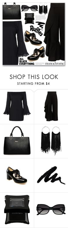 """""""Mission Monochrome: All-Black Outfit (Work Wear)"""" by jecakns ❤ liked on Polyvore featuring Rachel Comey, Illamasqua and La Perla"""