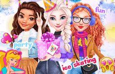 Princesses Ice Skating Party: Hoje as princesas da Disney vão fazer uma festa na pista de gelo. Jogue este jogo de princesa e vista Elsa, Moana e Merida para festa. Mostre suas habilidades para escolher a roupa perfeita  e acessórios da moda inverno. Ice Skating Party, Skate Party, Princess Games, Princess Zelda, Moana, Merida, Best Part Of Me, Elsa, Disney