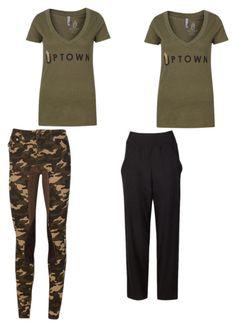 """T-shirt 2 ways"" by uptownsweats on Polyvore featuring camoflage, women, fashionset, uptownsweats and 2kgrey"