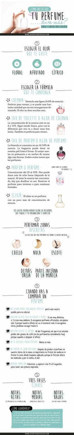 Like this idea as an infographic that we can also maybe convert to an interactive tool with video component or test.,.. like a game? But we can also make it like a flyer? Consejos básicos para escoger tu perfume ideal. #perfumes #tips #infografia