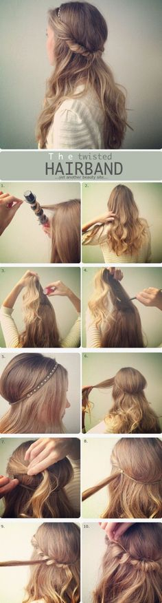The Twisted Hair Band Hair Tutorial. Down Hairstyles, Pretty Hairstyles, Easy Hairstyles, Wedding Hairstyles, Natural Hairstyles, Hairstyle Ideas, Business Hairstyles, Girl Hairstyles, Perfect Hairstyle