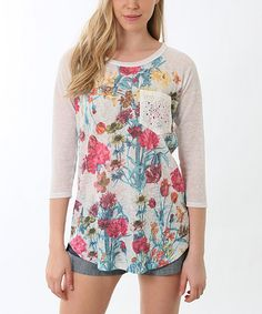 This Pink & Teal Floral Raglan Top by Lady Monkey is perfect! #zulilyfinds