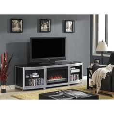 Star Gotham TV Stand for TVs up to 80-inch with 26-inch Contemporary Infrared Quartz Fireplace - Silver/