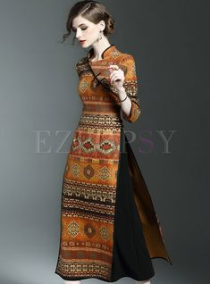 Read more The post Vintage Stand Collar Print Three Quarters Sleeve Slim Maxi Dress appeared first on How To Be Trendy. Batik Fashion, Ethnic Fashion, Look Fashion, Hijab Fashion, African Fashion, Indian Fashion, Fashion Dresses, Fashion Design, Maxi Dresses