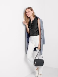 J. Crew Regent Topcoat in Double-Serge Wool, Margot Top in Silk, Maddie Pant in Bi-Stretch Wool, Women's Tretorn Canvas T56 Sneakers and Signet Bag in Italian Leather