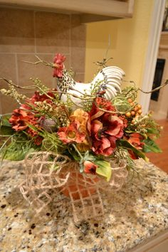 Cream Spotted Rooster Arrangement by kristenscreations on Etsy Tuscan Decorating, French Country Decorating, Fall Floral Arrangements, Rooster Decor, Fall Decor, Holiday Decor, Chickens And Roosters, Galo, French Decor