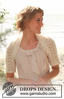 "Knitted DROPS shrug with cables and lace pattern in ""Alpaca"" and ""Kid-Silk"". Size: S - XXXL. Shrug Knitting Pattern, Knit Shrug, Crochet Cardigan, Knitting Patterns Free, Free Knitting, Free Pattern, Drops Design, Wedding Knitting Ideas, Shrugs And Boleros"