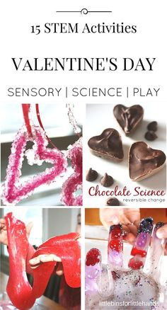 Valentines Day science and STEM activities for kids. Hands on Valentine's Day themed activities that explore the sciences and engineering. Preschool through early elementary Valentines activities to keep kids busy for the holiday.