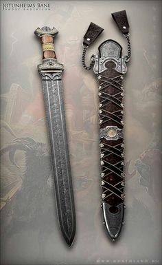 sword is nice, but scabbard is pretty awesome. André Andersson Custom Damascus Knives - Knives, Daggers, Swords and Artknives from Sweden Swords And Daggers, Knives And Swords, Katana, Armas Ninja, Viking Sword, Viking Battle, Medieval Weapons, Cool Knives, Arm Armor