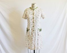 Vintage 60s Pink Green Floral Linen Dress by perniejaynevintage, $48.00