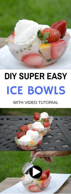 DIY ICE BOWLS are so beautiful and easy to make. They are perfect for ice cream and keep the ice cream cool for much longer. Watch the video to see how to make them!