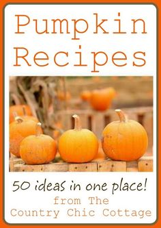 Pumpkin Recipes for Fall -- 50 ideas for you! ~ * THE COUNTRY CHIC COTTAGE (DIY, Home Decor, Crafts, Farmhouse)