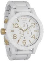 Nixon 51-30 Chrono Watch - All White / Gold  The 51-30 Chrono Watch by Nixon is the king of the 51-30's. It features custom 6 hand Japanese movement a second subdial. The case is stainless steel with a hardened mineral crystal face and external rotating bezel. The band is solid stainless steel with a brushed finish and a double locking clasp. Tested to 300m depth.