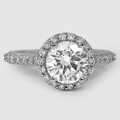 Platinum Halo Diamond Ring with Side Stones // Set with a 1.70 Carat, Round, Super Ideal Cut, E Color, VS2 Clarity Diamond #BrilliantEarth