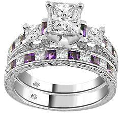 Amatistas y diamantes, anillo de compromiso