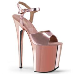 Pu/Rose Gold Chrome ◈ Heel ◈ Platform ◈ Sensual Shoes UK ◈ www.uk >> Pleaser >> Flamingo ◈ The most beautiful and exotic shoes in the world ◈ ◈ Neon Heels, Shoes Heels, Stiletto Heels, Top Shoes, Gold Ankle Strap Heels, Ankle Straps, Pole Dance, Plateau Heels, Crazy Heels