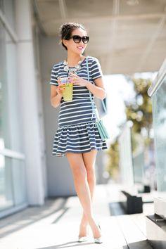 Brunch :: Dropped-waist dress & Silver details : Wendy's Lookbook