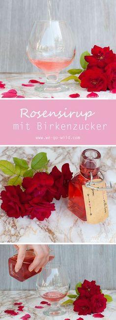 Leckerer und schneller Rosenblütensirup mit Xylit (Xucker). Unser selbstgemachter Rosensirup bietet mehr Genuss bei weniger Kalorien