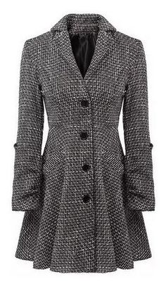 Love Love LOVE this Classic Coat Design! Sleek and Slimming! Stylish Grey Long Sleeve Single-Breasted