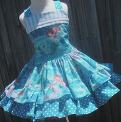 Custom Boutique Disney Little Mermaid Ariel Dress Girl 2 3 4 5 6 7 8 on Etsy, $55.00