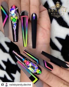 Crazy Nails, Dope Nails, Bling Nails, Stiletto Nails, Swag Nails, Colored Acrylic Nails, Summer Acrylic Nails, Cute Acrylic Nails, Angela Jones