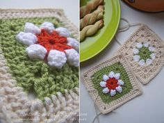 How pretty are these two squares together! I think the'd make a lovley rug.