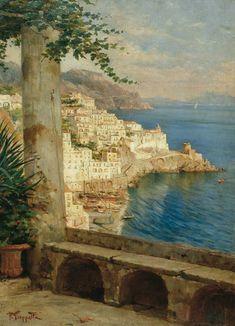 Pietro Scoppetta Amalfi (Sa) 1863 - Napoli 1920 - Veduta di Amalfi dal Convento dei Cappuccini
