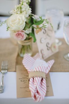 pink + white striped napkins | Lauren Larsen #wedding