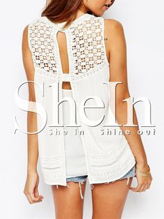 White Sleeveless With Lace Tank Top 9.99