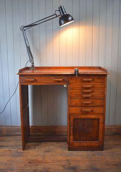 Vintage Oak Jeweler's Watch Maker's Work Bench - Industrail Desk- Tall - Lamp