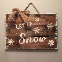 Our Let it snow rustic wood sign is perfect to hang all winter long! Choose your own colors or stains to make the piece perfect for your home!