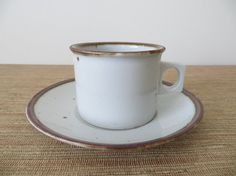 Dansk Brown Mist Cups and Saucers - Square Flat Handles (12 Sets Available) Danish Mid Century Modern    This listing is for one cup and saucer