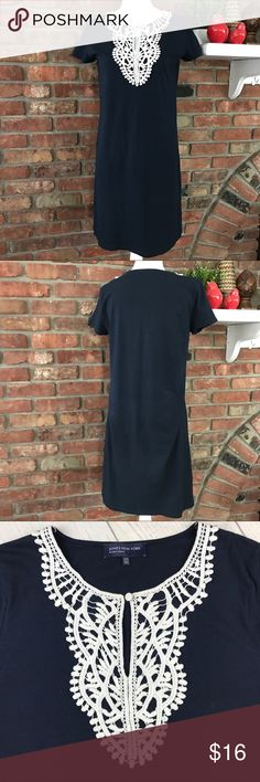 Jones New York Signature Navy T-shirt Dress Sz S In wonderful used condition. Size Small, beautiful embroidered Neck line. Smoke free environment. Jones New York Dresses