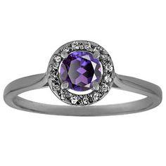 Halo Jewelry - Alexandrite Diamond Halo Ring In Black Rhodium Plated White Gold…