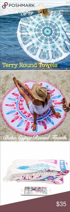 """Vagabon Gypsy Round Terry Towels The newest trending Boho Gypsy Round terry towels. Three different prints with tassel detail around the edge. Made of a terry cotton. Size : 63"""" X 63"""" (With Tassle 2"""" long). These are also great for picnics or throwing down on the lawn to watch fireworks on the 4th of July. Each towel sold separately state the number 1, 2 or 3 you would like when purchasing. Accessories Scarves & Wraps"""