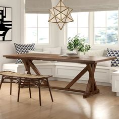 Dining Table Sale, Farmhouse Dining Room Table, Solid Wood Dining Table, Dining Nook, Extendable Dining Table, Wood Table, Banquette Seating In Kitchen, Banquette Bench, Kitchen Nook